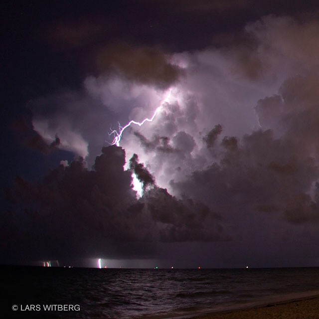 A night on the beach to remember. Wild weather is sometimes so beautiful.  #ocean #picoftheday #photography #photo #photooftheday #beach #lightning #weather #canon_photos #miami